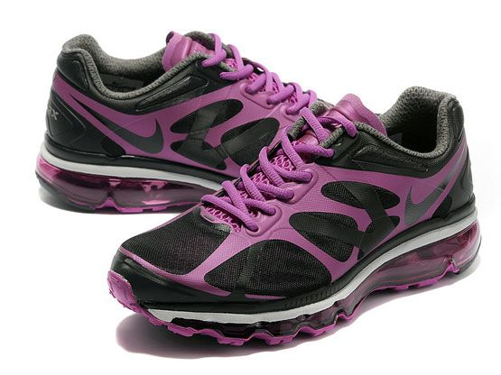 Women    Air Max 2012 Running Shoes Color Black&red&white