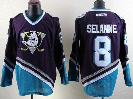 Mens Nhl Anaheim Mighty Ducks #8 Selanne Purple Hockey Throwbacks Jersey