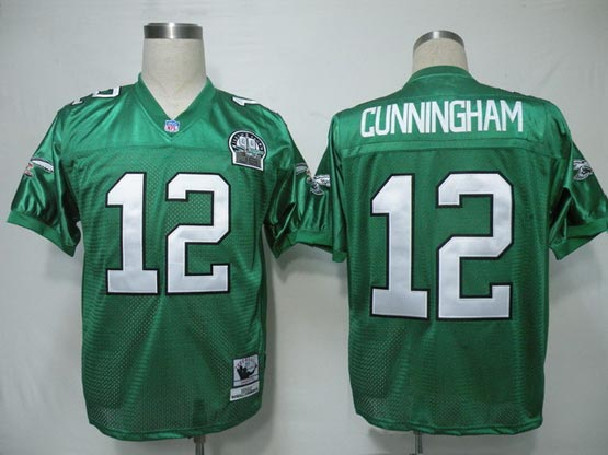 Mens Nfl Philadelphia Eagles #12 Cunningham Green 99th Throwbacks Jersey