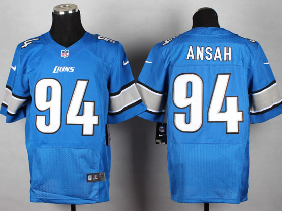 mens nfl detroit lions #94 ansah Light Blue elite jersey