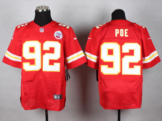 Mens Nfl Kansas City Chiefs #92 Poe Red Elite Jersey