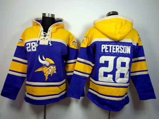 Mens Nfl Minnesota Vikings #28 Peterson Purple (team Hoodie) Jersey