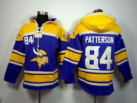 Mens Nfl Minnesota Vikings #84 Patterson Purple (team Hoodie) Jersey