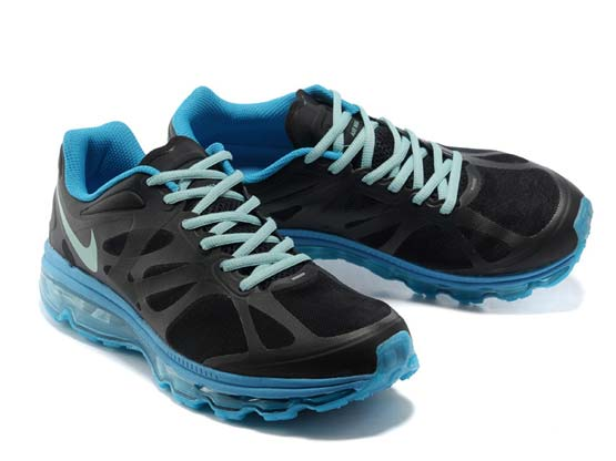 Women    Air Max 2012 Running Shoes Color Black&white&blue