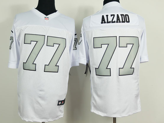 Mens Nfl Oakland Raiders #77 Alzado White (silver Number) Elite Jersey