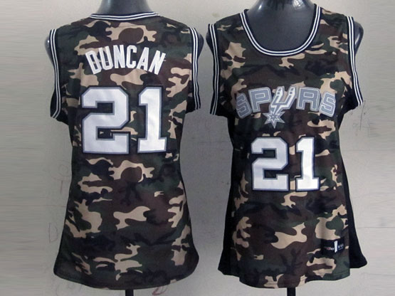 Women  Nba San Antonio Spurs #21 Duncan Camo Jersey