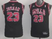 Youth Nba Chicago Bulls #23 Jordan (red Number Bulls) Black Jersey