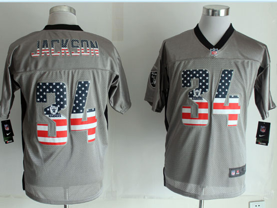 Mens Nfl New Oakland Raiders #34 Jackson 2014 Usa Flag Fashion Gray Shadow Elite Jerseys