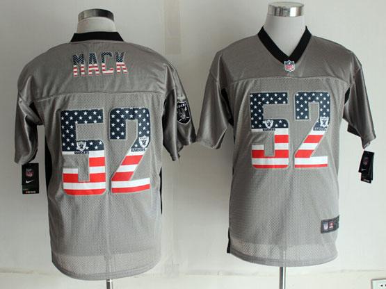 Mens Nfl New Oakland Raiders #52 Mack 2014 Usa Flag Fashion Gray Shadow Elite Jerseys