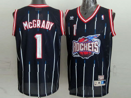 Mens Nba Houston Rockets #1 Mcgrady Blue Stripe Mesh Jersey