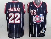 Mens Nba Houston Rockets #22 Drexler Blue Stripe Mesh Jersey