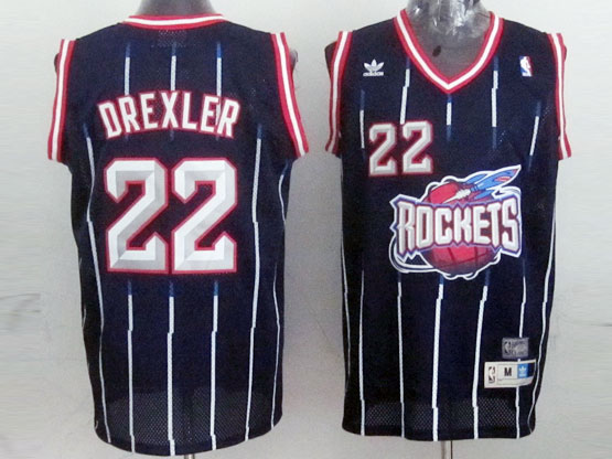 Mens Nba Houston Rockets #22 Drexler Blue Stripe Mesh Jersey