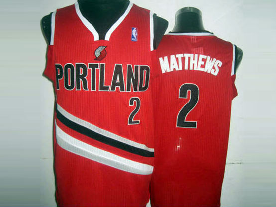 Mens Nba Portland Trail Blazers #2 Matthews Red (v-neck Portland) Jersesy