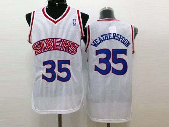 Mens Nba Philadelphia Sixers #35 Weatherspoon White (blue Number) Mesh Jersey