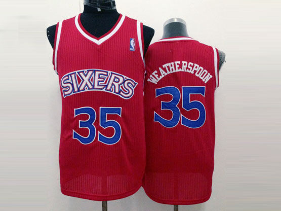 Mens Nba Philadelphia Sixers #35 Weatherspoon Red (blue Number) Mesh Jersey