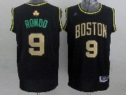 Mens Nba Boston Celtics #9 Rondo Black (gold Number) Jersey