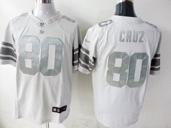 mens nfl New York Giants #80 Victor Cruz white (silver number) platinum limited jersey
