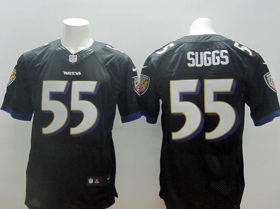 Mens Nfl Baltimore Ravens #55 Terrell Suggs Black (2014 New Fl) Elite Jersey