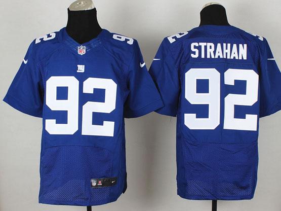 Mens Nfl New York Giants #92 Strahan Blue Elite Jersey