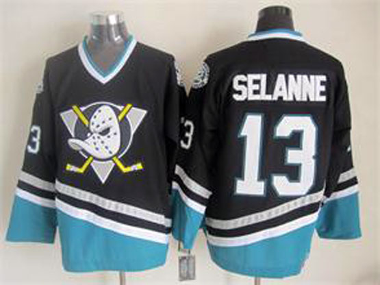 Mens Ccm Nhl Anaheim Mighty Ducks #13 Selanne Black Vintage Jersey