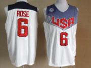 Mens Nba Usa Team 2014 Fiba Basketball World Cup #6 Rose White Jersey (p)