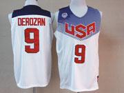 Mens Nba Usa Team 2014 Fiba Basketball World Cup #9 Derozan White Jersey (p)