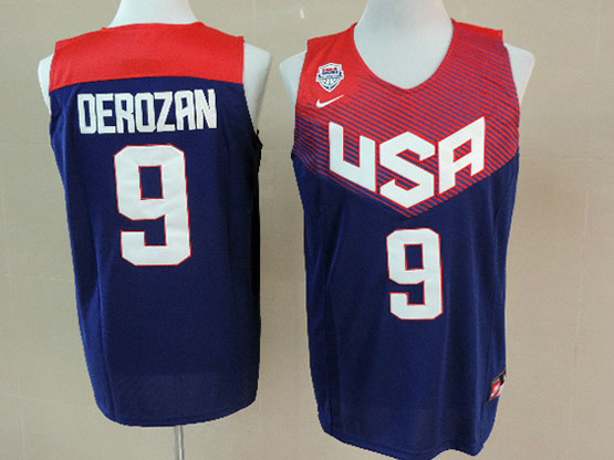 Mens Nba Usa Team 2014 Fiba Basketball World Cup #9 Derozan Blue Jersey (p)