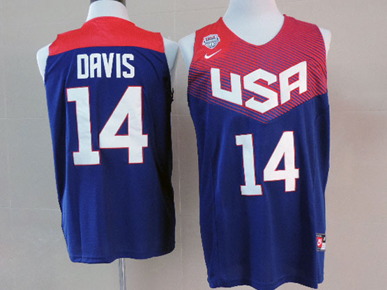 Mens Nba Usa Team 2014 Fiba Basketball World Cup #14 Davis Blue Jersey (p)