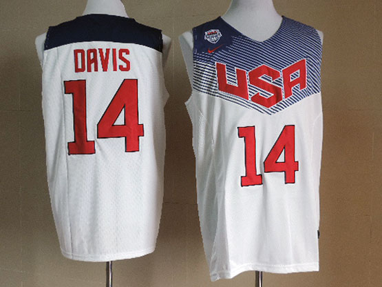 Mens Nba Usa Team 2014 Fiba Basketball World Cup #14 Davis White Jersey (p)