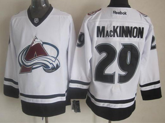 Mens reebok nhl colorado avalanche #29 mackinnon white (new black skirt) Jersey