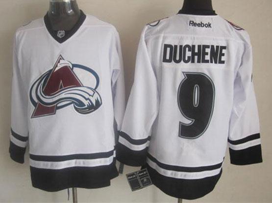 Mens reebok nhl colorado avalanche #9 duchene white (new black skirt) Jersey