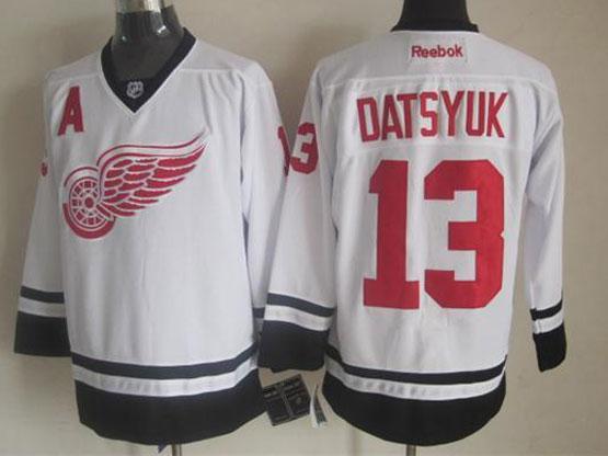 mens reebok nhl Detroit Red Wings #13 Pavel Datsyuk white (new black skirt) jersey