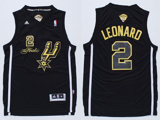 Mens Nba San Antonio Spurs #2 Leonard Black 2014 The Finals Champions (gold Name) Jersey