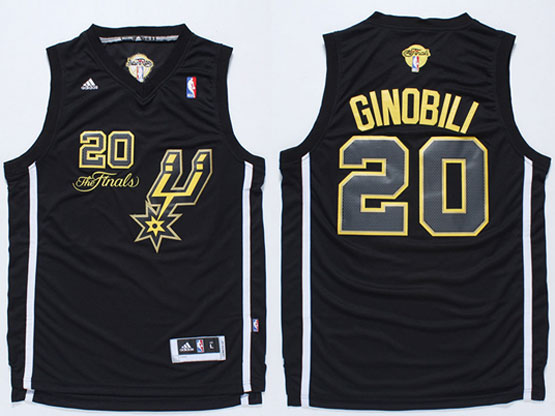 Mens Nba San Antonio Spurs #20 Ginobili Black 2014 The Finals Champions (gold Name) Jersey
