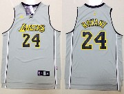 Mens Nba Los Angeles Lakers #24 Bryant Gray (black Number) Jersey (p)