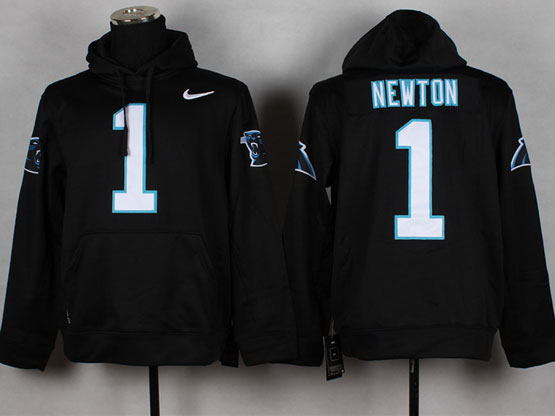 Mens Nfl Carolina Panthers #1 Cam Newton Black (nk Team Logo) Pullover Hoodie Jersey