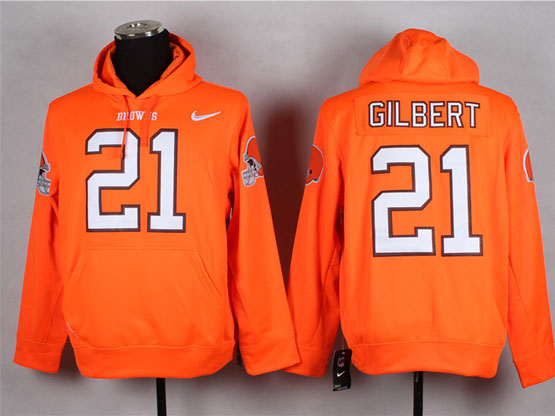Mens Nfl Cleveland Browns #21 Gilbert Orange (nk Team Logo) Pullover Hoodie Jersey