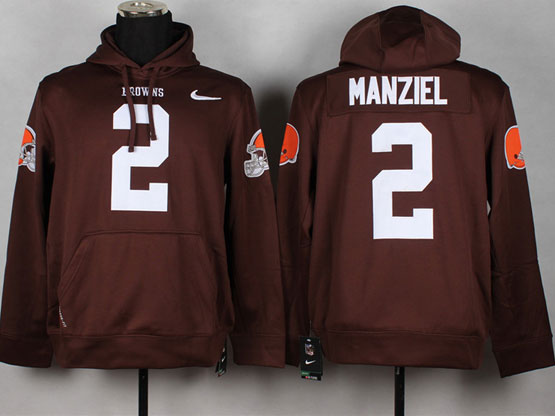 Mens Nfl Cleveland Browns #2 Manziel Brown (nk Team Logo) Pullover Hoodie Jersey