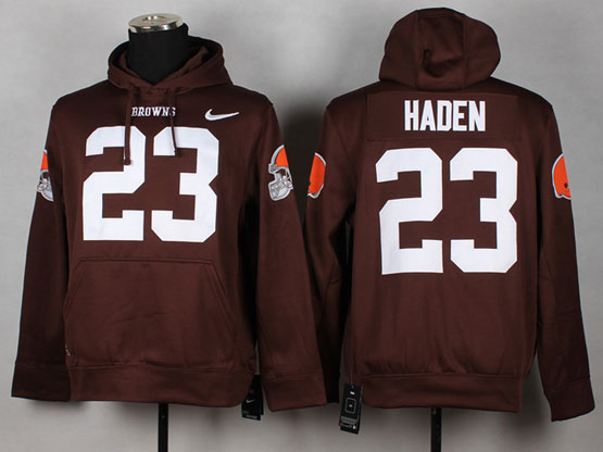 Mens Nfl Cleveland Browns #23 Haden Brown (nk Team Logo) Pullover Hoodie Jersey