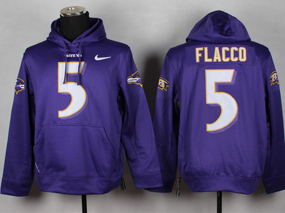 Mens Nfl Baltimore Ravens #5 Joe Flacco Purple (nk Team Logo) Pullover Hoodie Jersey