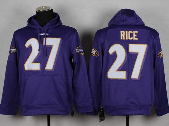 Mens Nfl Baltimore Ravens #27 Sheldon Price Purple (nk Team Logo) Pullover Hoodie Jersey