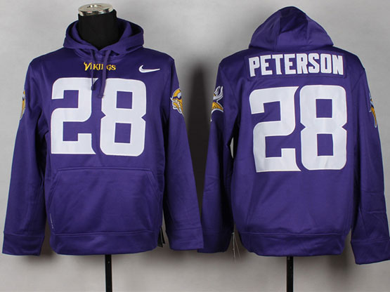 Mens Nfl Minnesota Vikings #28 Peterson Purple (nk Team Logo) Pullover Hoodie Jersey