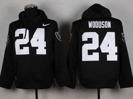 mens nfl Oakland Raiders #24 Charles Woodson black (nk team logo) pullover hoodie jersey
