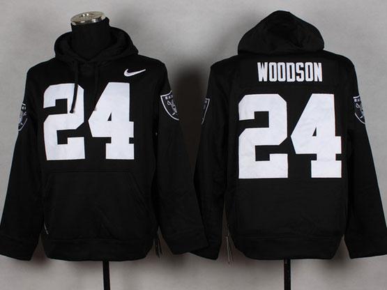 mens nfl Oakland Raiders #24 Charles Woodson black (nk team logo) pullover hoodie jersey