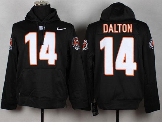 Mens Nfl Cincinnati Bengals #14 Dalton Black (nk Team Logo) Pullover Hoodie Jersey