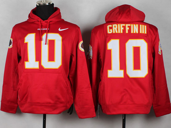 Mens Nfl Washington Redskins #10 Griffin Iii Red (nk Team Logo) Pullover Hoodie Jersey