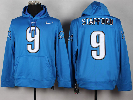 Mens Nfl Detroit Lions #9 Stafford Blue (nk Team Logo) Pullover Hoodie Jersey