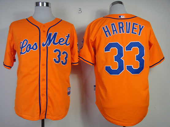 Mens mlb new york mets #33 harvey orange Jersey