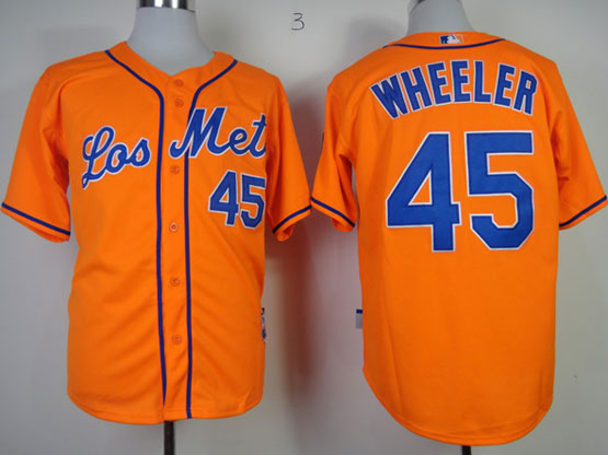 Mens mlb new york mets #45 wheeler orange Jersey