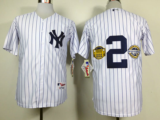 Mens Mlb New York Yankees #2 Jeter White Wcommemorative Final Season&inaugural Season& Retirement Patch Jersey